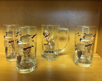 Pheasant Drinking Glasses 3 & 1 Herb Mug