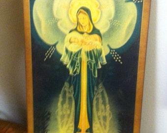 Pyraglas Plaque Mary & Infant Antique Vintage Wall Plaque
