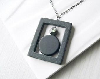 Black Onyx Pendant Necklace, Stone Jewelry - Grey Mother of Pearl, Geometric, Modern, Semi Precious, Semiprecious, Boho, Bohemian, Matte