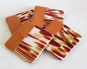 GLASS DRINK COASTERS - Earth Tones Fused Glass Coaster Set, Gift for New Home, Summer Coasters, Bridal Shower Gift, Unique Hostess Gift Idea