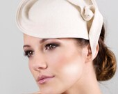 Womens Hat, Felt Leaf Cocktail Hat, Bridal Saucer Hat with Optional Birdcage Veil, Designer Races Hat, Mini Hat - Laurel