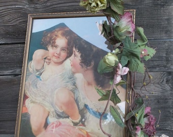 Vintage Victorian Style Framed Print  Shabby Vintage Chic Distressed Picture Frame 15.5 x 12.5