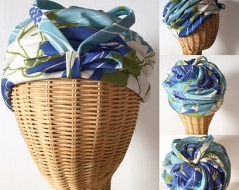 Vintage 50s / 60s / Blue / Green / Bow Tie / Turban Hat