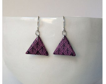 Collection geometry. Earrings triangle in pink