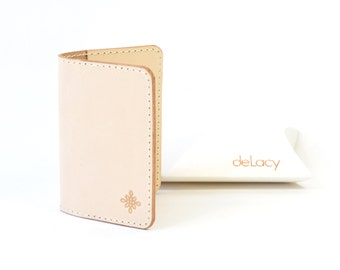 Natural Vegetable Tanned Leather Bi Fold Card  Wallet Handmade