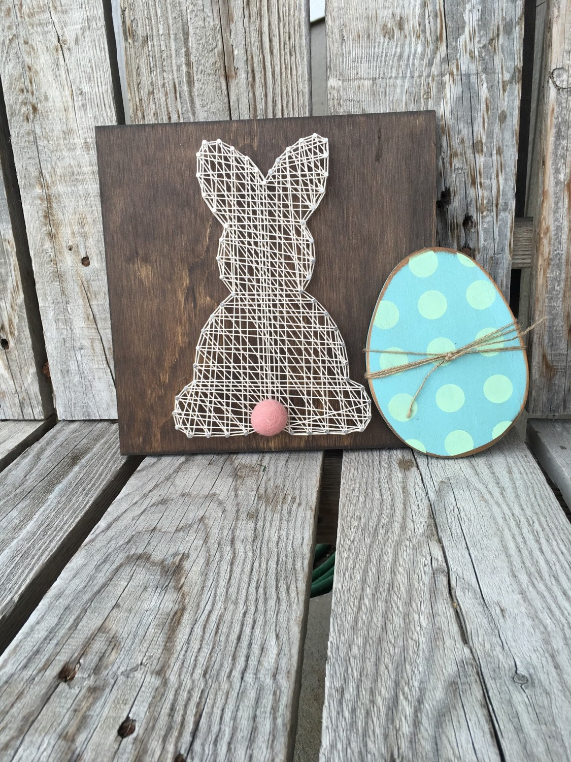 Easter bunny string art wood sign seasonal home decor handmade - Handmade home decoration items collection ...
