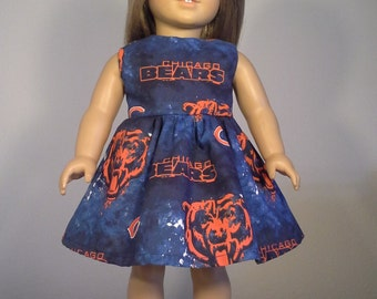 18 inch Doll Clothes Handmade Chicago Bears Football Print Dress fits American Girl Doll Clothes