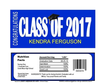 Graduation Candy Bar Wrapper Editable instant  download Printable -  GRA1216  DIY (1- PDF file) class of 2017
