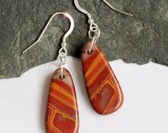 Wildfire - Beautiful Natural Mookaite Sterling Silver Earrings