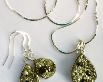 Gold Rush - Pyrite Chunk Sterling Silver Necklace and Earring Set