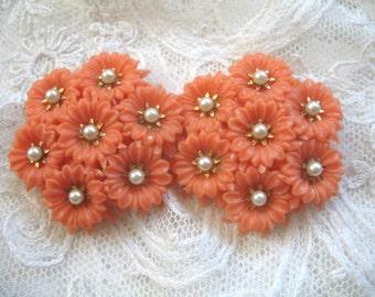 Vintage Soft Plastic & Pearls Earrings ~ Coral Flowers ~ Clip On
