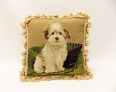 Vintage Needlepoint Pillow--- Needlepoint Dog Portrait--- Cairn Terrier