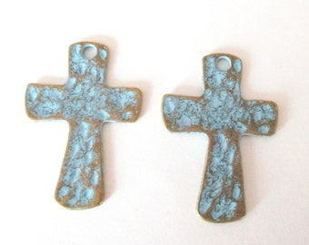 Blue Cross Pendant - Turquoise Brass Hammered Cross - Teal Blue Bronze Rustic Patina - Cross Charm - Cross Focal Necklace (2) Pcs Diy Craft