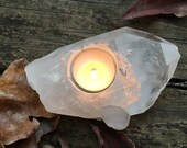 HUGE POINT Crystal Candle Holder Tea light Votive reiki wicca altar Raise Vibrations Lot66 Holiday Gift