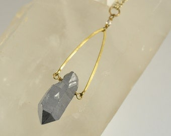 Silver Vapor Quartz Crystal With Long Raw Brass Cable Chain Necklace