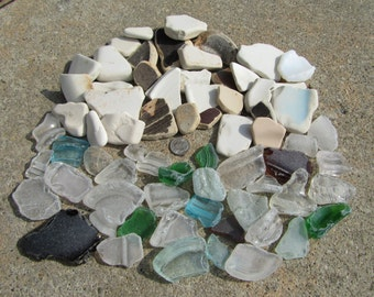60 Larger Pieces of Surf Tumbled Glass And Pottery For Crafts