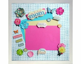 BEAUTIFUL CARING MOM Memory Album Page (Natural Veneer Shadow Box Frame Sold Separately)