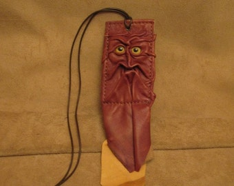 Grichels leather ID card holder - brown with yellow fish eyes, yellowy tan fringe