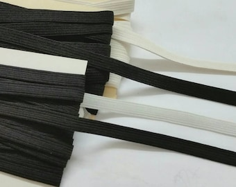 "3/8"" in, 144yds Bulk Braided or Knitted Elastic - white or black"