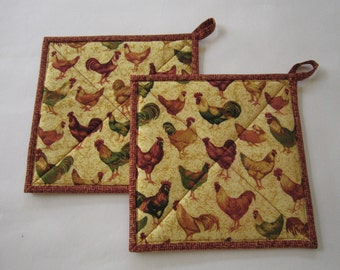 Pot Holders with Hens and Roosters Set of 2 Potholders, Kitchen, Handmade, Country, Farm, Hotpads, Hot Pads