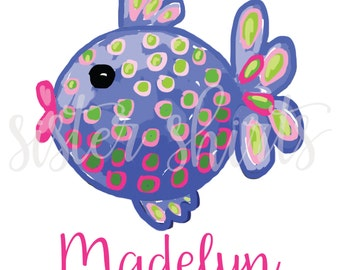Watercolor Kissy Fish Personalized Children's Tee