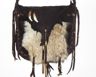 Brown deerskin leather and coyote fur medicine bag mountain man rendezvous cross body