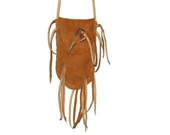 Antler tip closure leather medicine bag mountain man pow wow renaissance faire