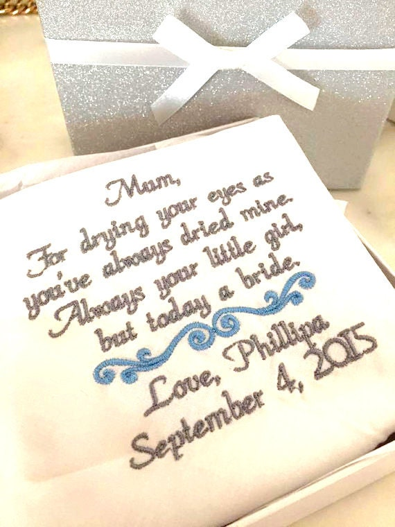 Wedding Gifts For Mom Getting Married : Gift for Mom, Mother of the Groom, Wedding hanky, Embroidered Wedding ...