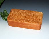 Big Leaf Maple Burl on Cherry Handmade Wooden Box and Tray by BurlWoodBox - Wood Jewelry Box, Wood Stash Box, Small Wooden Jewelry Box Tray