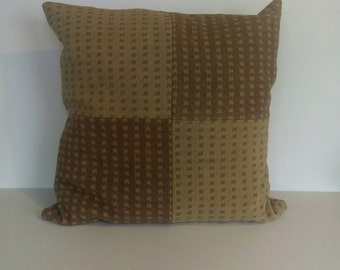 """Wool Pillow Cover, 20"""" Tan and Brown"""