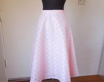 LAST CHANCE SALE...Vintage 60's 70s Pink Skirt,  A-Line Full Shape, Eyelet Lace, Waist 25, Size Small