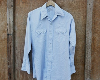 Vintage Men's Grey Western Shirt by Dee Cee Brand USA - M/L