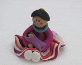 Indian Maiden sitting girl polymer clay figurine with baby