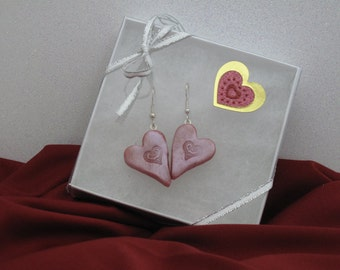 Red Heart polymer clay Valentine's Day earrings