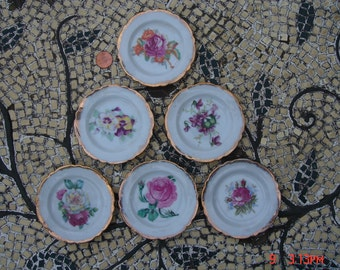 Vintage Porcelain Floral Butter Pats Dishes/Coasters - Lovely