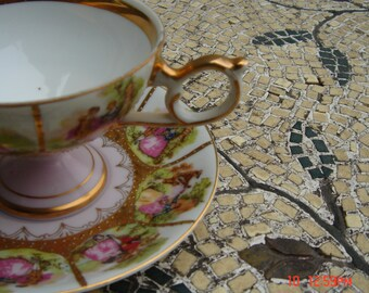 Vintage Porcelain Original Arnart Creation Courting Teacup and Saucer - Beautiful