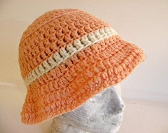 Adult Bucket Hat, Crocheted, Peaches and Cream, Soft to the Touch, Flop Hat