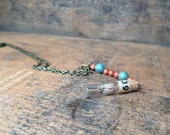 Antique Vial Necklace With Dried Lavender Goldstone and Agate Bead Accents