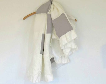 linen blanket, linen baby blanket, white linen throw, linen quilt, unisex