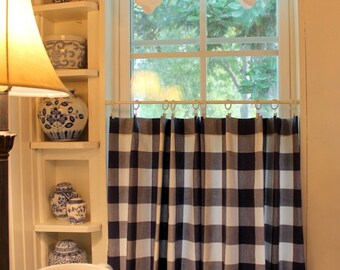 Buffalo Check P Kaufmann Checkmate Cafe Curtain Available in many Colors