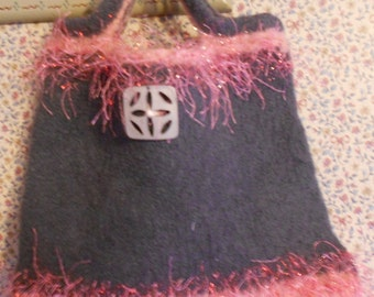 Hand Knitted/Felted Fully Lined Handbag