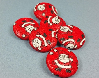 "SANTA CLAUS BUTTONS, Set of 6, Fabric Covered, 1"", Sewing Supply, Christmas Decor"
