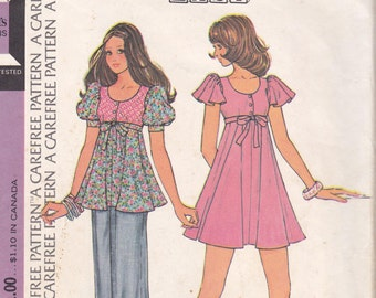 "FLOUNCY MINI DRESS Pattern, McCall's 3682, Easy, Size 10, Bust 32 1/2"", 1973, Vintage Sewing, Clothes"