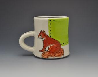 Green squirrel mug