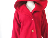 Vintage 1980s Hooded Coat Winter Wool Extra Large Xl L Crimson Blood Red Brass Toggles 80s Eighties Womens Ladies Snow White Little Red