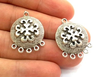 2 Pcs (22mm) Antique Silver Plated Charms   G5926