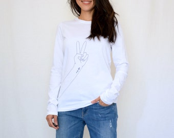 Peace Print Long Sleeve T-Shirt in White