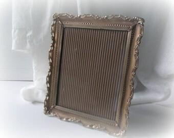 Vintage Brass Frame Filigree Picture Frame Ornate Metal Easel Back Hollywood Regency