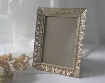 Gold Filigree Frame Ornate Metal 5 x 7 Picture Frame Hollywood Regency Photo Frame