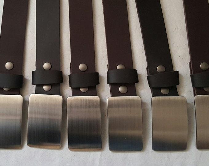 Men's Groomsmen Gift Belt & Buckle SET Personalized Wedding Accessories  Belt and Buckle for Jean Stainless Steel Buckle w/ Leather Belt Set